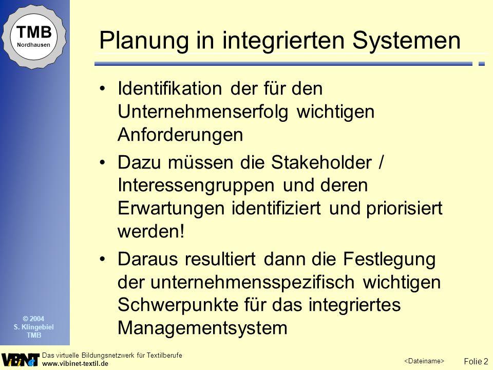 Folie 2 Das virtuelle Bildungsnetzwerk für Textilberufe www.vibinet-textil.de TMB Nordhausen © 2004 S. Klingebiel TMB Planung in integrierten Systemen
