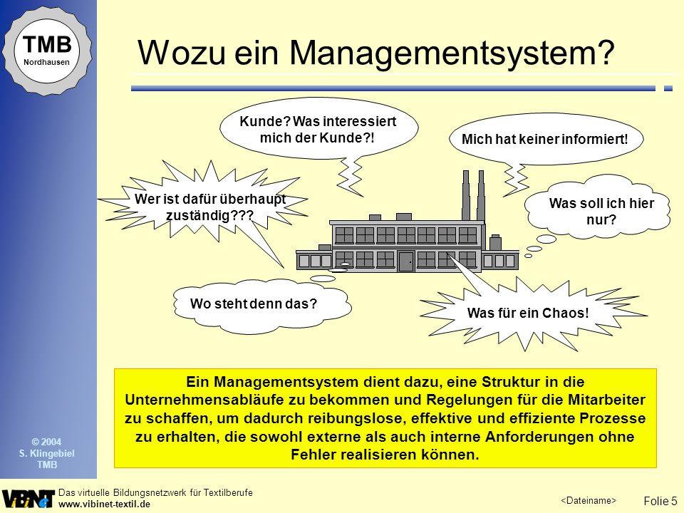 Folie 5 Das virtuelle Bildungsnetzwerk für Textilberufe www.vibinet-textil.de TMB Nordhausen © 2004 S. Klingebiel TMB Ein Managementsystem dient dazu,