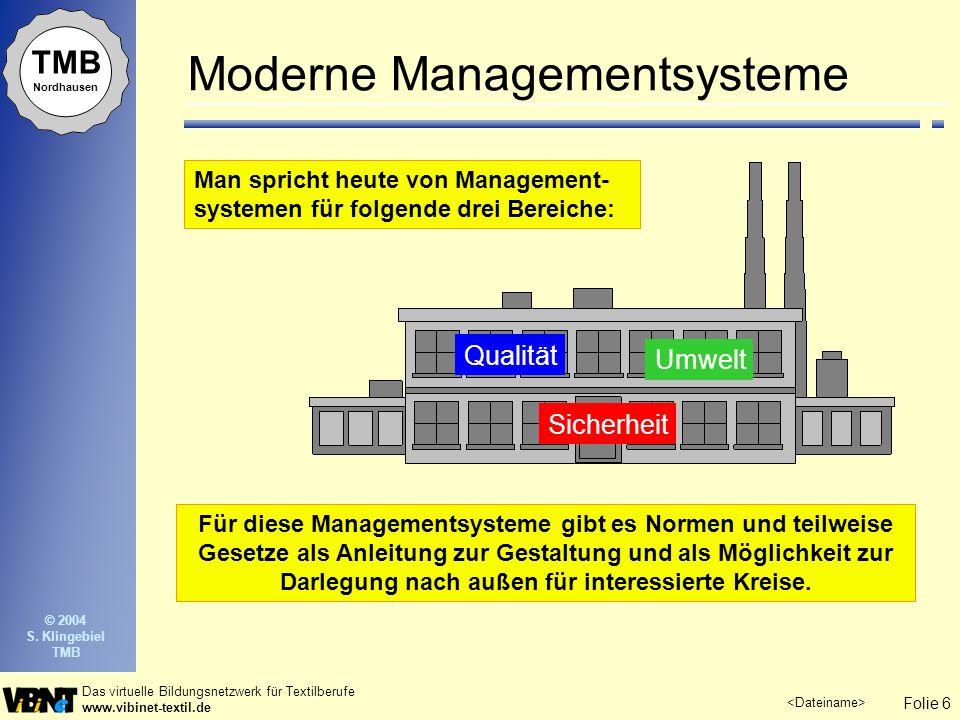 Folie 6 Das virtuelle Bildungsnetzwerk für Textilberufe www.vibinet-textil.de TMB Nordhausen © 2004 S. Klingebiel TMB Moderne Managementsysteme Man sp