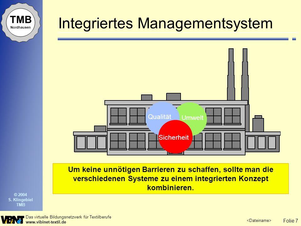 Folie 7 Das virtuelle Bildungsnetzwerk für Textilberufe www.vibinet-textil.de TMB Nordhausen © 2004 S. Klingebiel TMB Integriertes Managementsystem Um