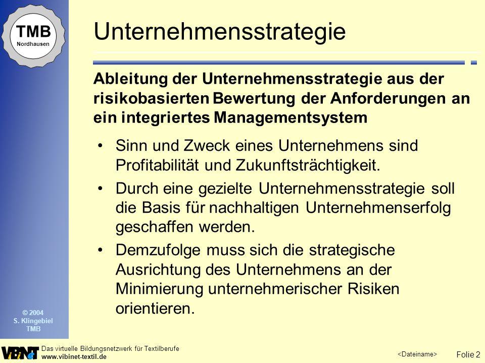 Folie 3 Das virtuelle Bildungsnetzwerk für Textilberufe www.vibinet-textil.de TMB Nordhausen © 2004 S.