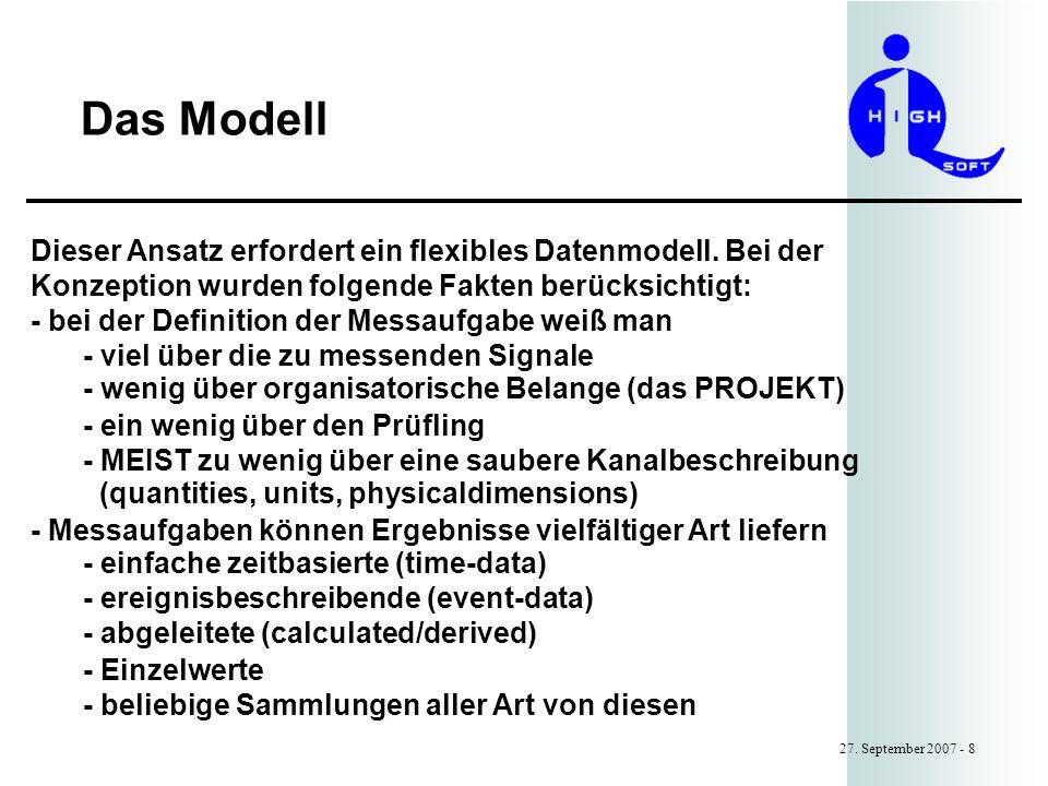 Das Modell 27.September 2007 - 8 Dieser Ansatz erfordert ein flexibles Datenmodell.