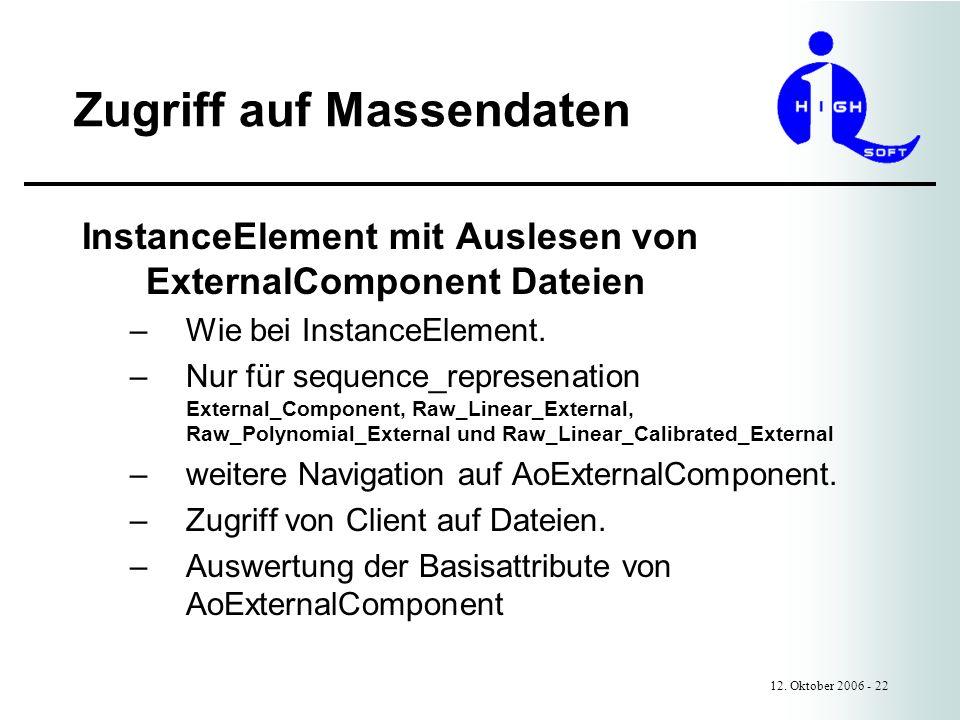 Zugriff auf Massendaten 12. Oktober 2006 - 22 InstanceElement mit Auslesen von ExternalComponent Dateien –Wie bei InstanceElement. –Nur für sequence_r