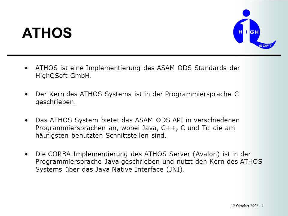 ATHOS 12.Oktober 2006 - 4 ATHOS ist eine Implementierung des ASAM ODS Standards der HighQSoft GmbH.