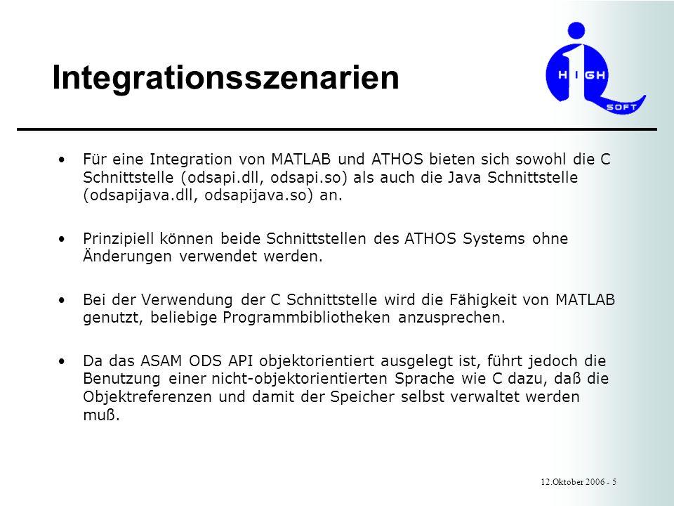 Integrationsszenarien 12.Oktober 2006 - 5 Für eine Integration von MATLAB und ATHOS bieten sich sowohl die C Schnittstelle (odsapi.dll, odsapi.so) als auch die Java Schnittstelle (odsapijava.dll, odsapijava.so) an.