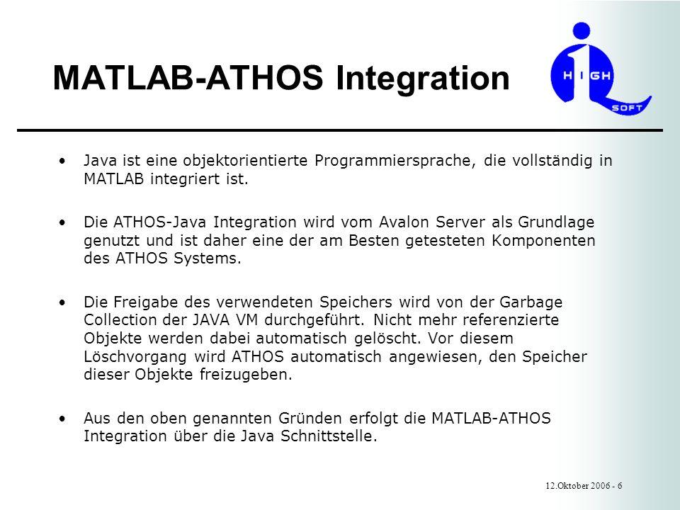 MATLAB-ATHOS Integration 12.Oktober 2006 - 6 Java ist eine objektorientierte Programmiersprache, die vollständig in MATLAB integriert ist.