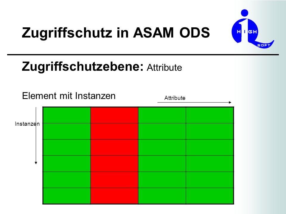 Zugriffschutz in ASAM ODS Zugriffschutzebene: Attribute Element mit Instanzen Attribute Instanzen