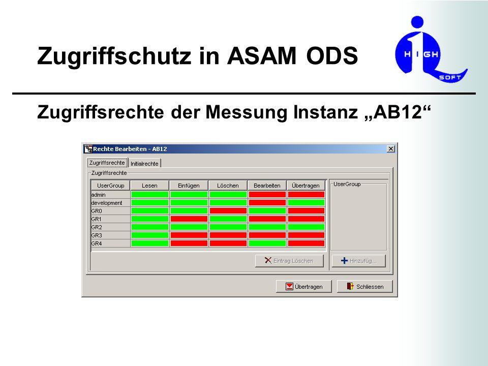 Zugriffschutz in ASAM ODS Zugriffsrechte der Messung Instanz AB12