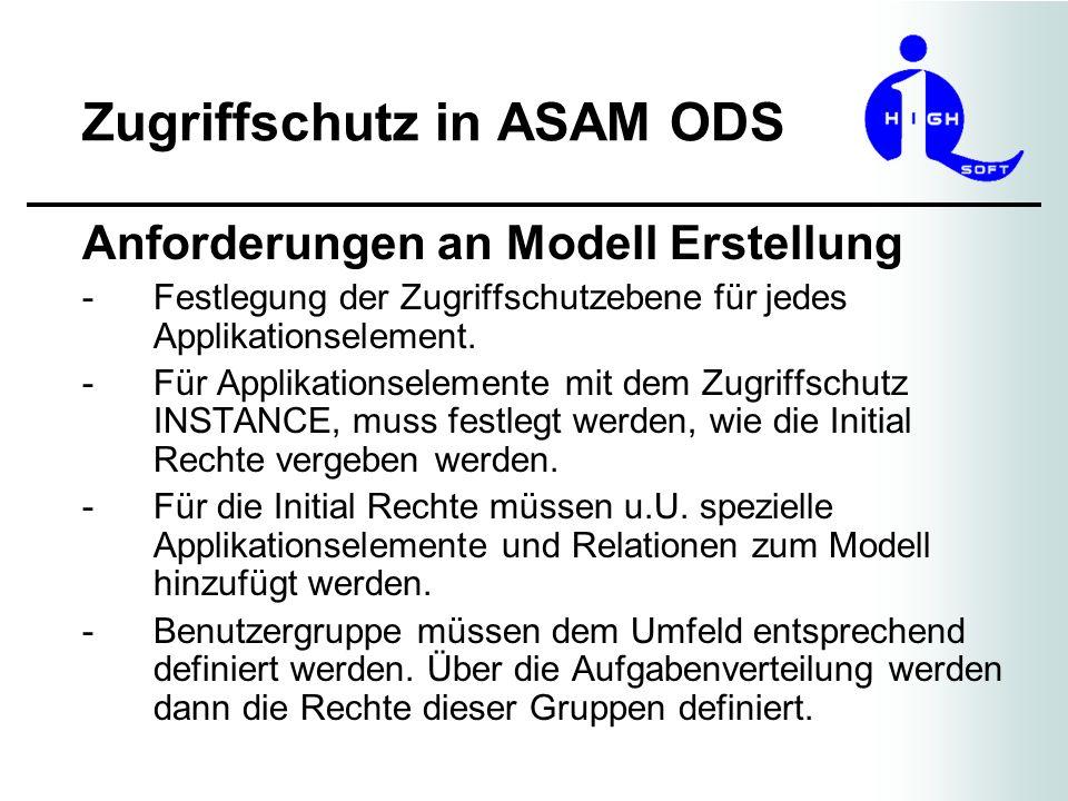 Zugriffschutz in ASAM ODS Anforderungen an Modell Erstellung -Festlegung der Zugriffschutzebene für jedes Applikationselement. -Für Applikationselemen