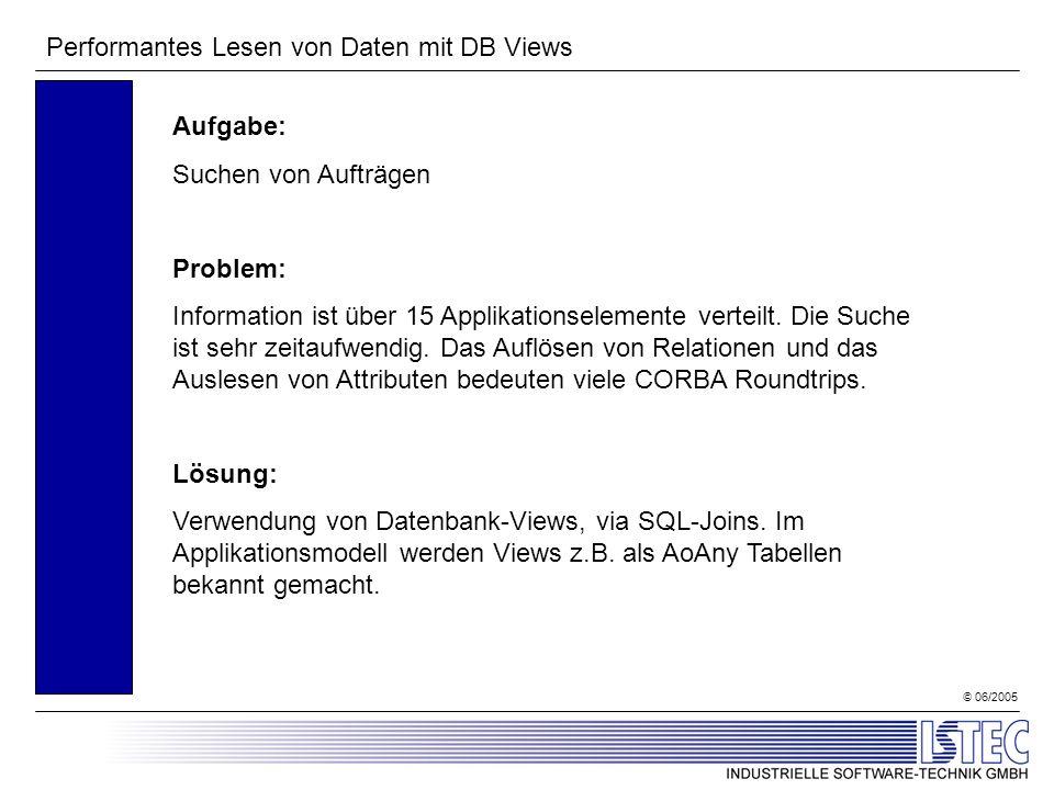© 06/2005 Performantes Lesen von Daten mit DB Views Aufgabe: Suchen von Aufträgen Problem: Information ist über 15 Applikationselemente verteilt. Die