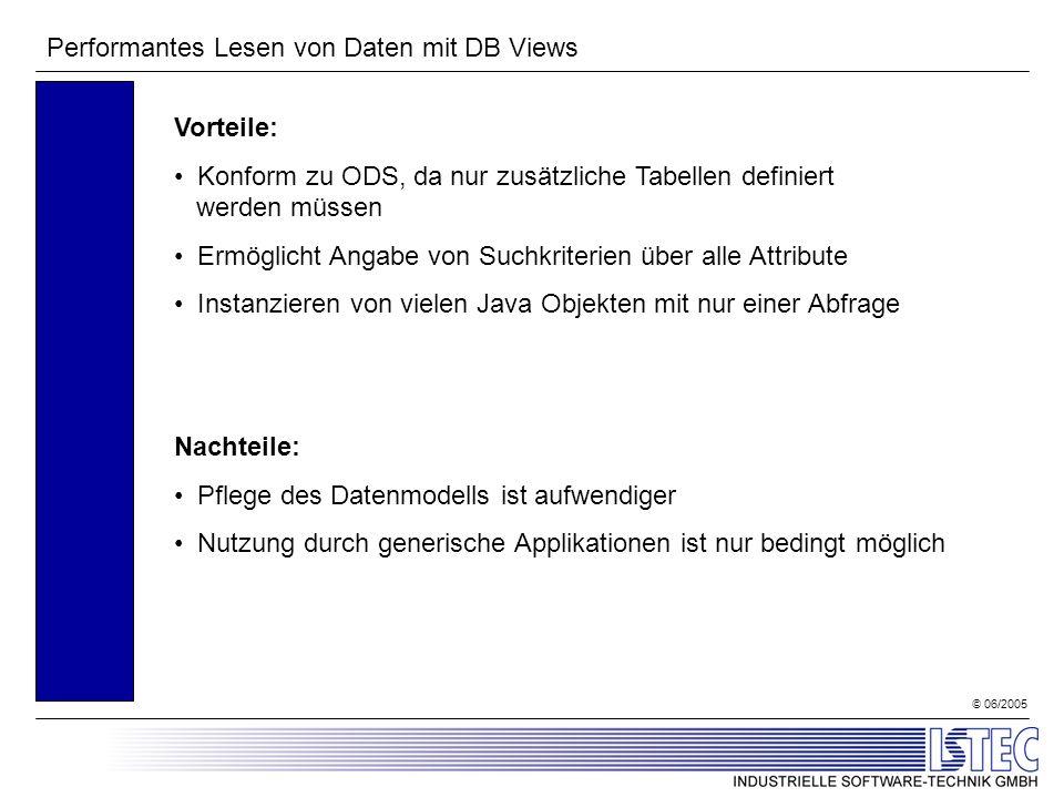 © 06/2005 Performantes Lesen von Daten mit DB Views Vorteile: Konform zu ODS, da nur zusätzliche Tabellen definiert werden müssen Ermöglicht Angabe vo