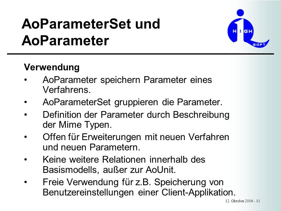 AoParameterSet und AoParameter 12. Oktober 2006 - 11 Verwendung AoParameter speichern Parameter eines Verfahrens. AoParameterSet gruppieren die Parame