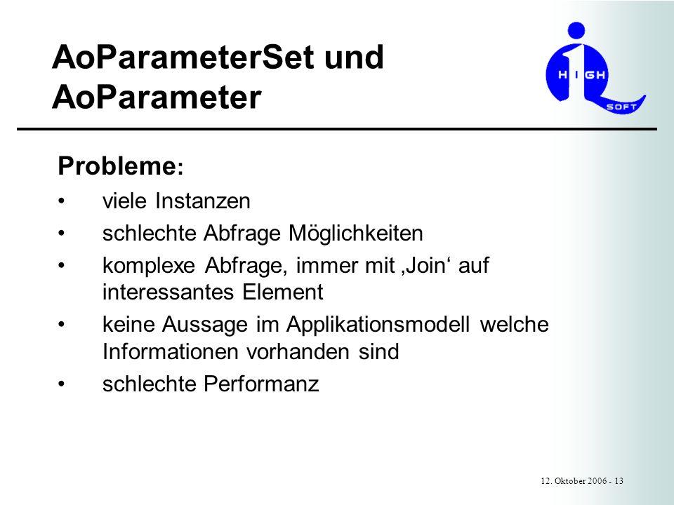 AoParameterSet und AoParameter 12. Oktober 2006 - 13 Probleme : viele Instanzen schlechte Abfrage Möglichkeiten komplexe Abfrage, immer mit Join auf i