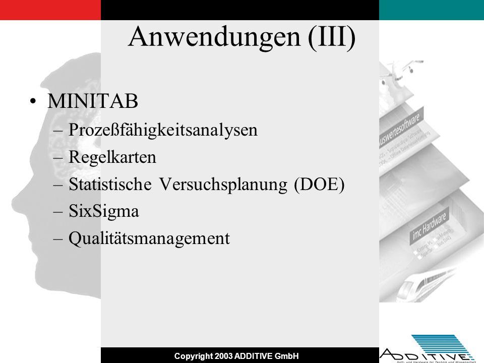 Copyright 2003 ADDITIVE GmbH Anwendungen (III) MINITAB –Prozeßfähigkeitsanalysen –Regelkarten –Statistische Versuchsplanung (DOE) –SixSigma –Qualitäts