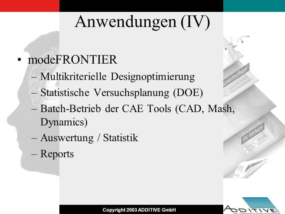 Copyright 2003 ADDITIVE GmbH Anwendungen (IV) modeFRONTIER –Multikriterielle Designoptimierung –Statistische Versuchsplanung (DOE) –Batch-Betrieb der
