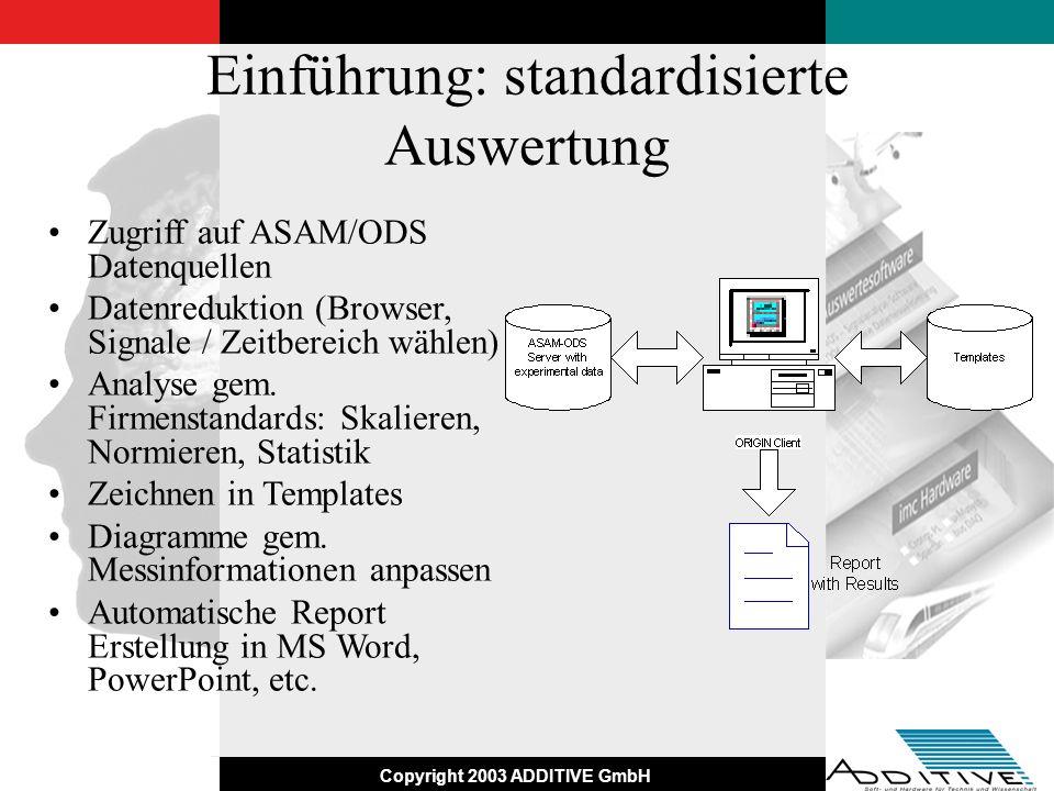 Copyright 2003 ADDITIVE GmbH Einführung: standardisierte Auswertung Zugriff auf ASAM/ODS Datenquellen Datenreduktion (Browser, Signale / Zeitbereich w