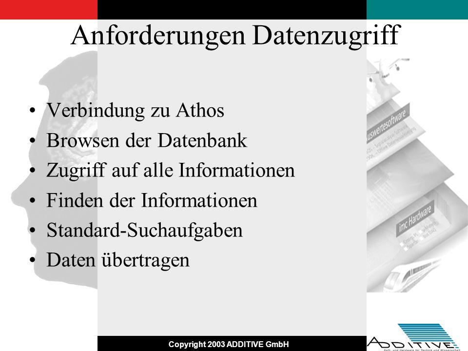 Copyright 2003 ADDITIVE GmbH Anforderungen Datenzugriff Verbindung zu Athos Browsen der Datenbank Zugriff auf alle Informationen Finden der Informatio