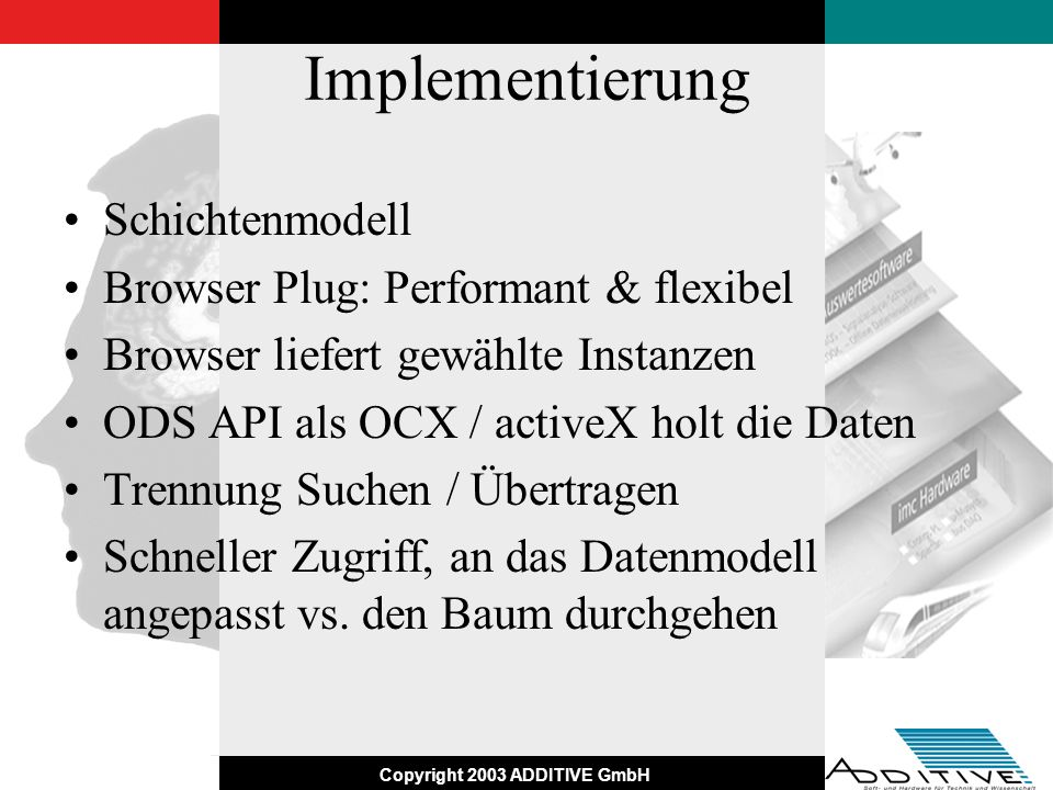 Copyright 2003 ADDITIVE GmbH Implementierung Schichtenmodell Browser Plug: Performant & flexibel Browser liefert gewählte Instanzen ODS API als OCX /