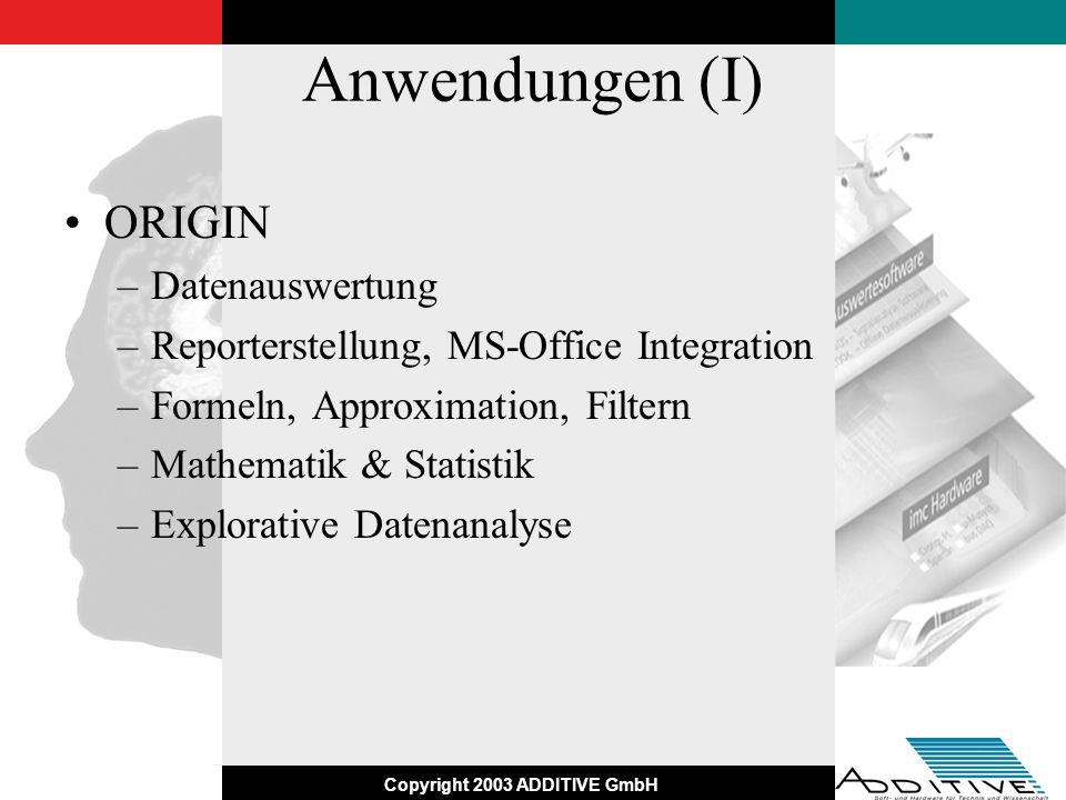 Copyright 2003 ADDITIVE GmbH Anwendungen (II) Mathematica –Simulation und Modellbildung (CALS) –Validierung der Modelle –Kalibrieren der Modellparameter –Mathematik & Statistik –Rapid Prototyping