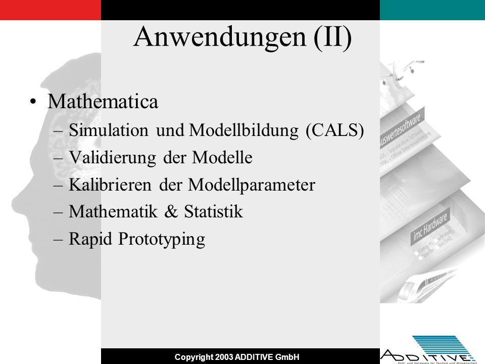 Copyright 2003 ADDITIVE GmbH Anwendungen (II) Mathematica –Simulation und Modellbildung (CALS) –Validierung der Modelle –Kalibrieren der Modellparamet