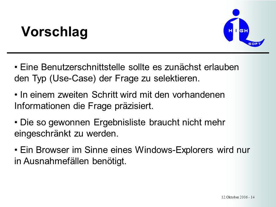 Vorschlag 12.Oktober 2006 - 14 Eine Benutzerschnittstelle sollte es zunächst erlauben den Typ (Use-Case) der Frage zu selektieren.