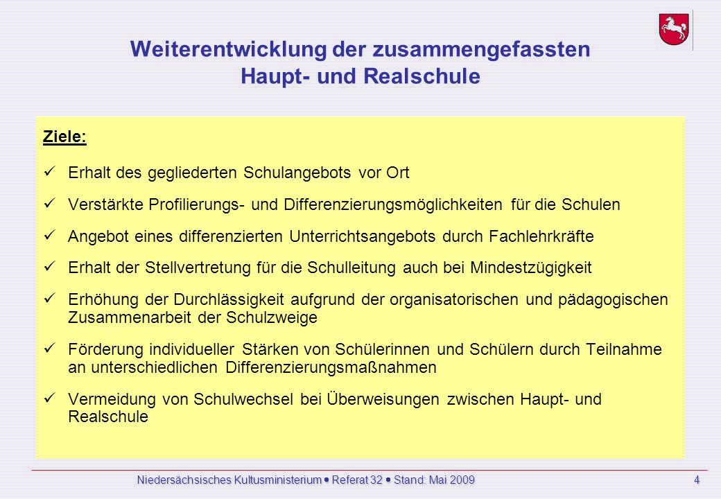Niedersächsisches Kultusministerium Referat 32 Stand: Mai 2009 4 Weiterentwicklung der zusammengefassten Haupt- und Realschule Ziele: Erhalt des gegliederten Schulangebots vor Ort Verstärkte Profilierungs- und Differenzierungsmöglichkeiten für die Schulen Angebot eines differenzierten Unterrichtsangebots durch Fachlehrkräfte Erhalt der Stellvertretung für die Schulleitung auch bei Mindestzügigkeit Erhöhung der Durchlässigkeit aufgrund der organisatorischen und pädagogischen Zusammenarbeit der Schulzweige Förderung individueller Stärken von Schülerinnen und Schülern durch Teilnahme an unterschiedlichen Differenzierungsmaßnahmen Vermeidung von Schulwechsel bei Überweisungen zwischen Haupt- und Realschule