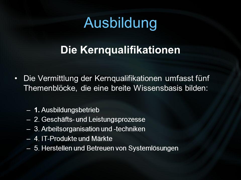 Ausbildung Die Kernqualifikationen Die Vermittlung der Kernqualifikationen umfasst fünf Themenblöcke, die eine breite Wissensbasis bilden: –1. Ausbild