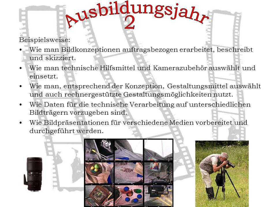 Beispielsweise: Wie man Bildkonzeptionen auftragsbezogen erarbeitet, beschreibt und skizziert.