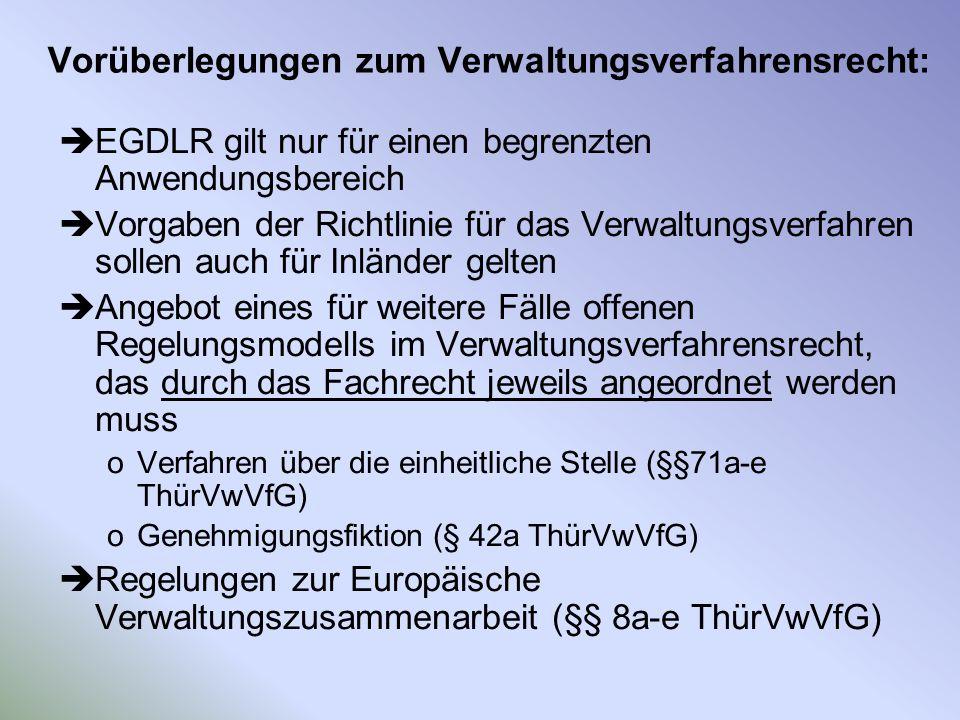 Vorüberlegungen zum Verwaltungsverfahrensrecht: EGDLR gilt nur für einen begrenzten Anwendungsbereich Vorgaben der Richtlinie für das Verwaltungsverfa