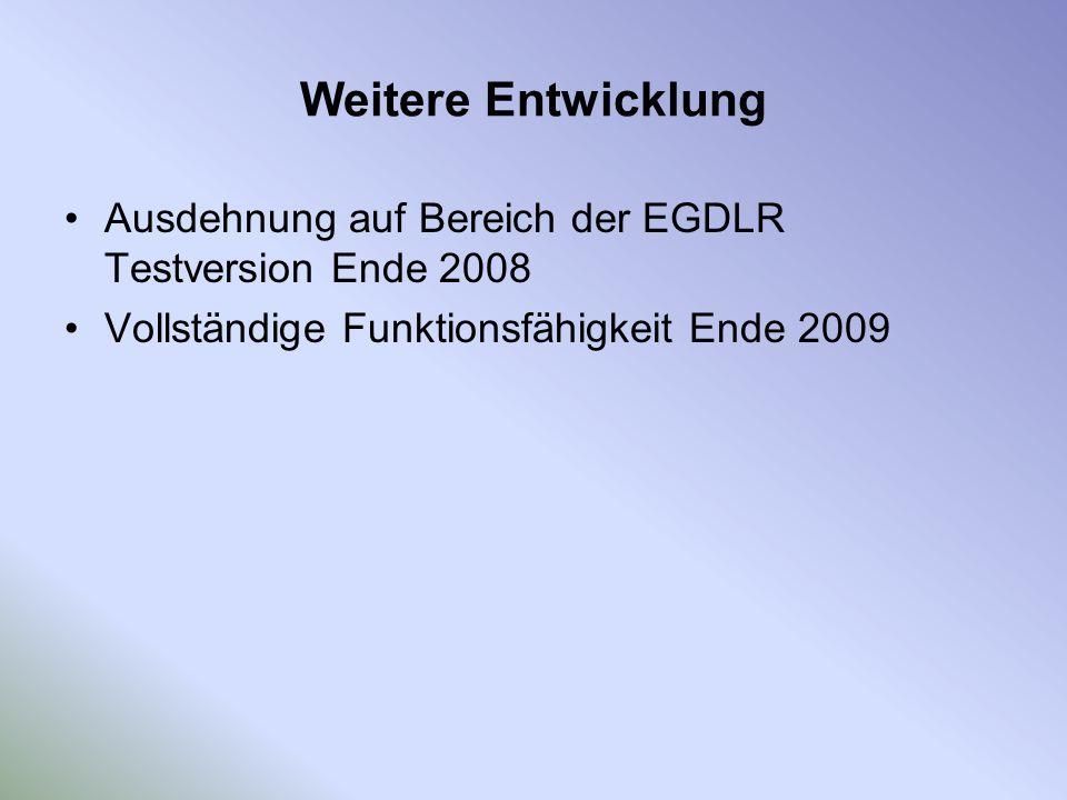 Weitere Entwicklung Ausdehnung auf Bereich der EGDLR Testversion Ende 2008 Vollständige Funktionsfähigkeit Ende 2009