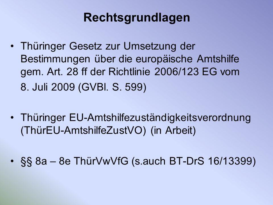 Rechtsgrundlagen Thüringer Gesetz zur Umsetzung der Bestimmungen über die europäische Amtshilfe gem. Art. 28 ff der Richtlinie 2006/123 EG vom 8. Juli