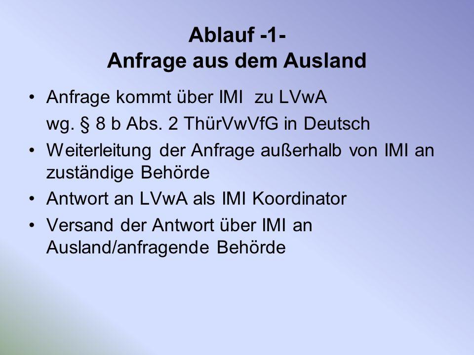 Ablauf -1- Anfrage aus dem Ausland Anfrage kommt über IMI zu LVwA wg. § 8 b Abs. 2 ThürVwVfG in Deutsch Weiterleitung der Anfrage außerhalb von IMI an