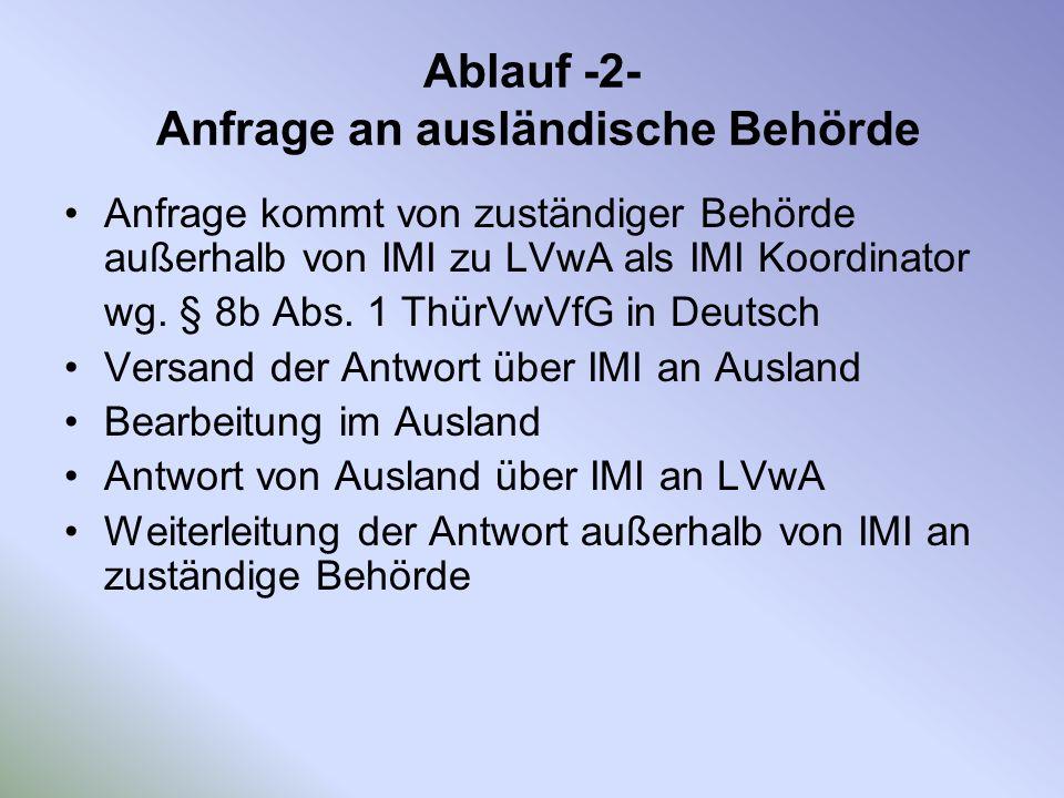 Ablauf -2- Anfrage an ausländische Behörde Anfrage kommt von zuständiger Behörde außerhalb von IMI zu LVwA als IMI Koordinator wg. § 8b Abs. 1 ThürVwV