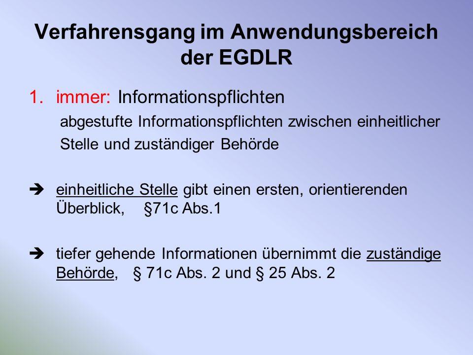 Verfahrensgang im Anwendungsbereich der EGDLR 1.immer: Informationspflichten abgestufte Informationspflichten zwischen einheitlicher Stelle und zustän