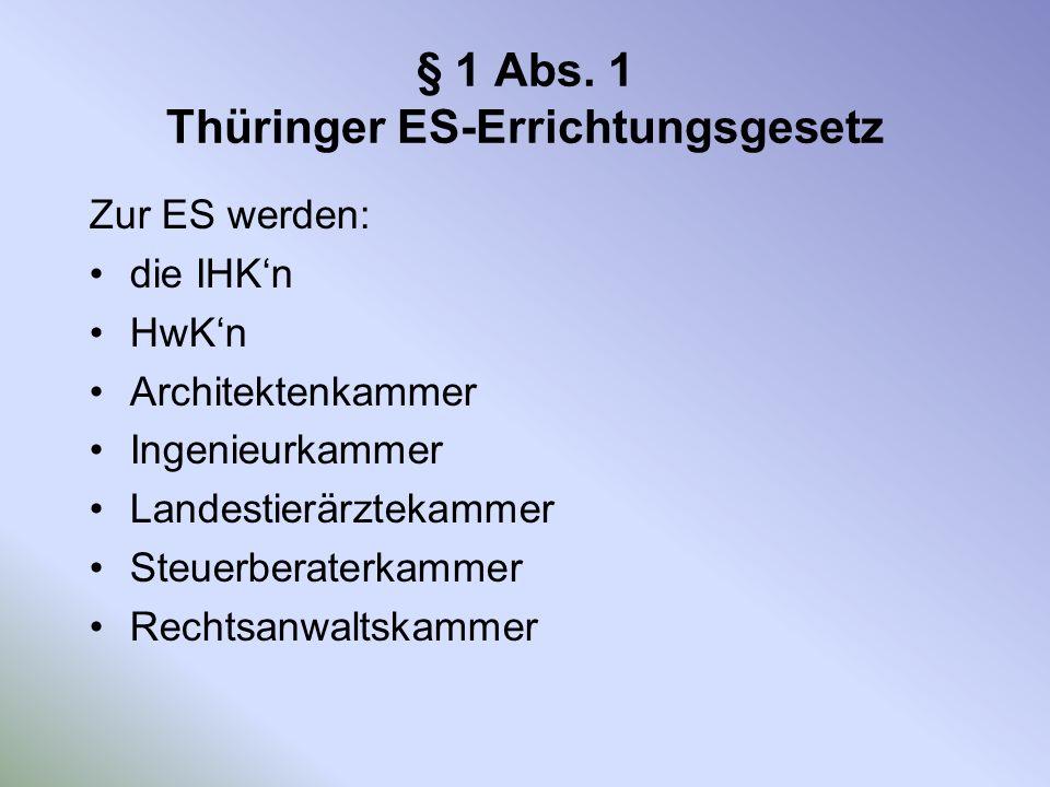 § 1 Abs. 1 Thüringer ES-Errichtungsgesetz Zur ES werden: die IHKn HwKn Architektenkammer Ingenieurkammer Landestierärztekammer Steuerberaterkammer Rec
