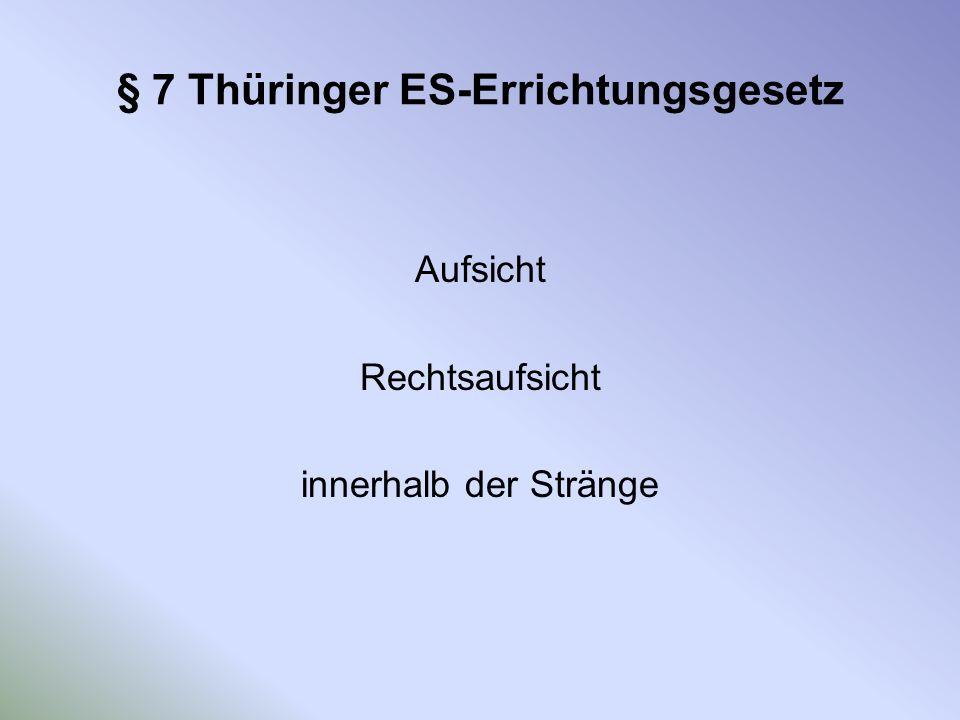 § 7 Thüringer ES-Errichtungsgesetz Aufsicht Rechtsaufsicht innerhalb der Stränge
