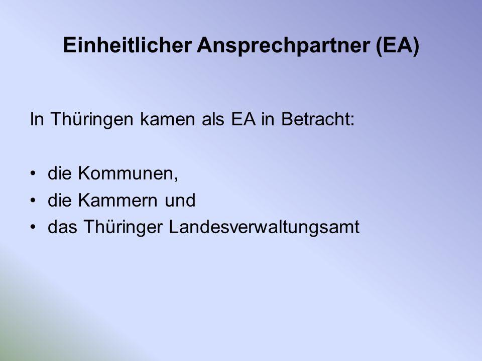 Einheitlicher Ansprechpartner (EA) In Thüringen kamen als EA in Betracht: die Kommunen, die Kammern und das Thüringer Landesverwaltungsamt