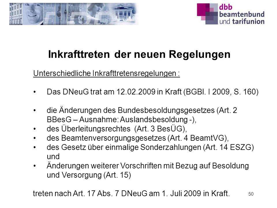 Inkrafttreten der neuen Regelungen 50 Unterschiedliche Inkrafttretensregelungen : Das DNeuG trat am 12.02.2009 in Kraft (BGBl. I 2009, S. 160) die Änd