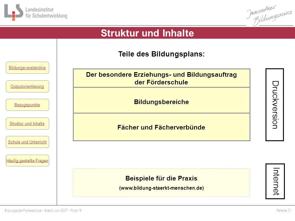 Bildungsplan Förderschule – Stand: Juni 2007 - Folie 14Referat 31 Outputorientierung Bezugspunkte Schule und Unterricht Struktur und Inhalte Häufig ge