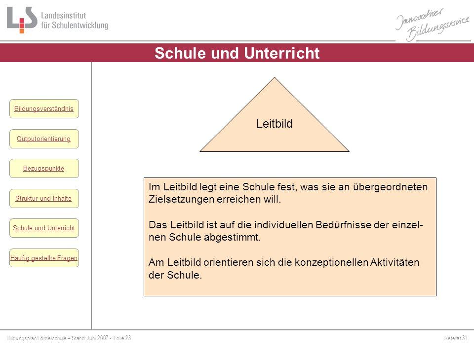 Bildungsplan Förderschule – Stand: Juni 2007 - Folie 23Referat 31 Outputorientierung Bezugspunkte Schule und Unterricht Struktur und Inhalte Häufig ge