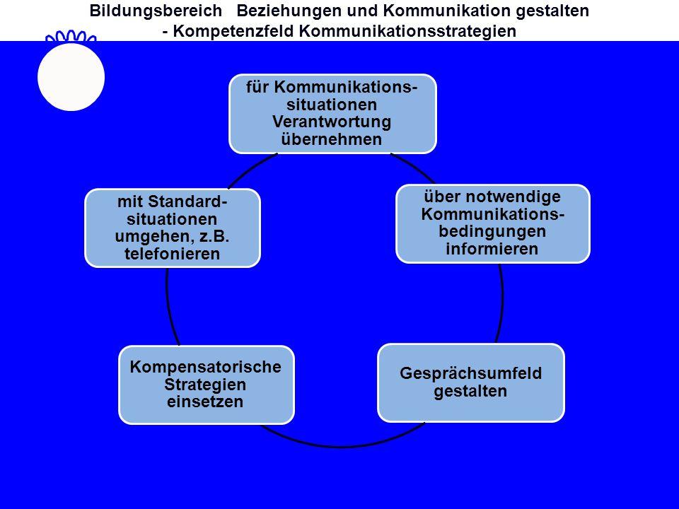 für Kommunikations- situationen Verantwortung übernehmen über notwendige Kommunikations- bedingungen informieren Gesprächsumfeld gestalten Kompensatorische Strategien einsetzen mit Standard- situationen umgehen, z.B.