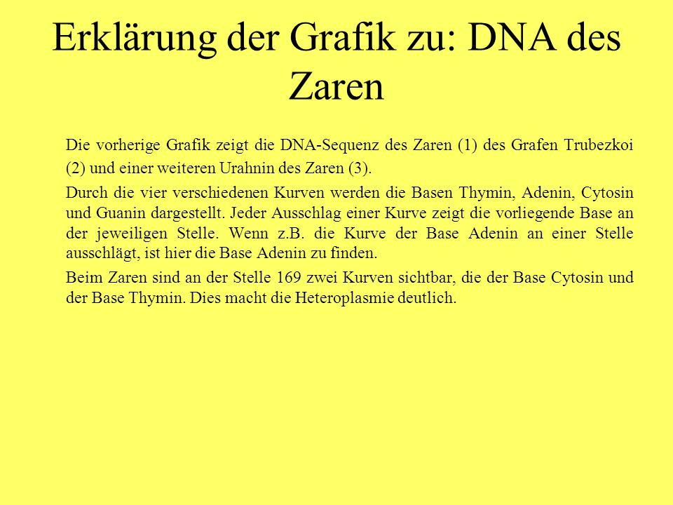 Erklärung der Grafik zu: DNA des Zaren Die vorherige Grafik zeigt die DNA-Sequenz des Zaren (1) des Grafen Trubezkoi (2) und einer weiteren Urahnin des Zaren (3).
