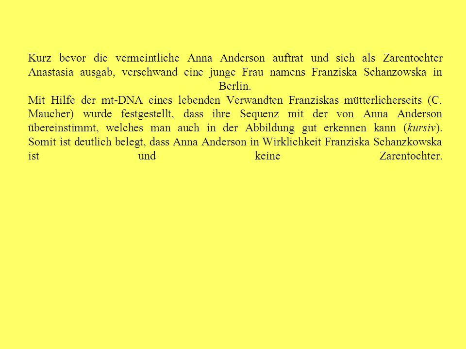 Kurz bevor die vermeintliche Anna Anderson auftrat und sich als Zarentochter Anastasia ausgab, verschwand eine junge Frau namens Franziska Schanzowska in Berlin.