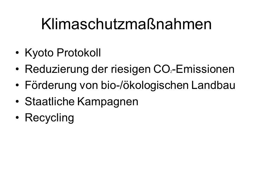 Klimaschutzmaßnahmen Kyoto Protokoll Reduzierung der riesigen CO 2 -Emissionen Förderung von bio-/ökologischen Landbau Staatliche Kampagnen Recycling
