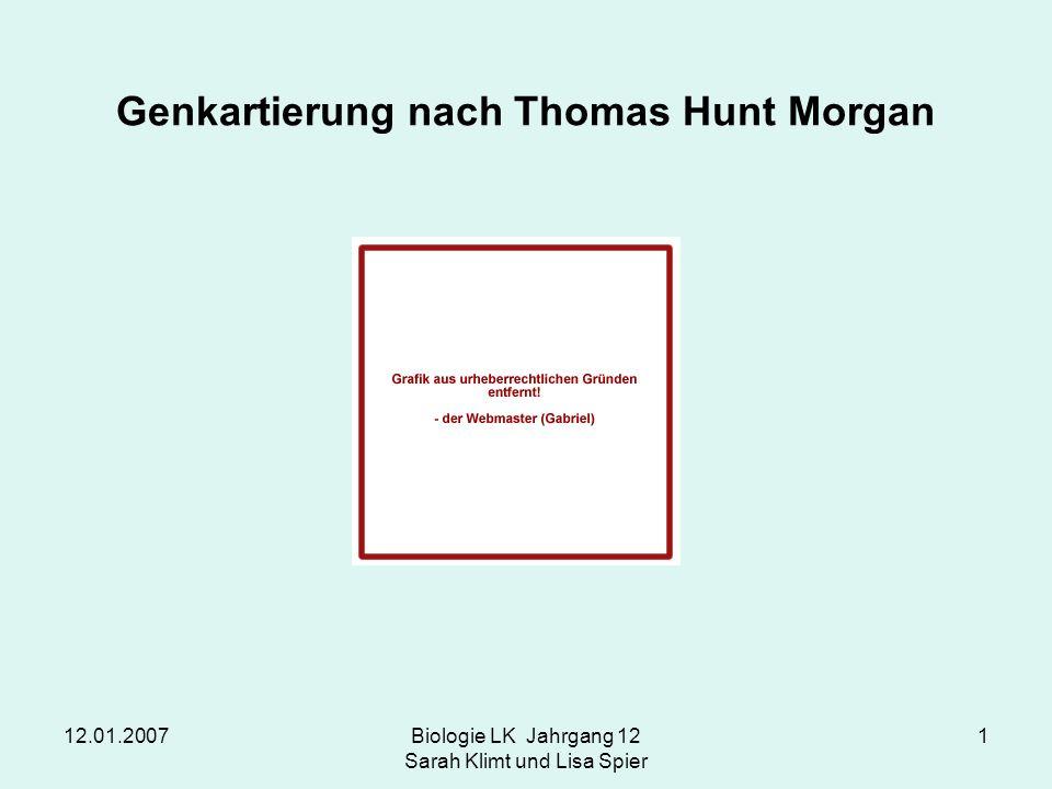 12.01.2007Biologie LK Jahrgang 12 Sarah Klimt und Lisa Spier 1 Genkartierung nach Thomas Hunt Morgan