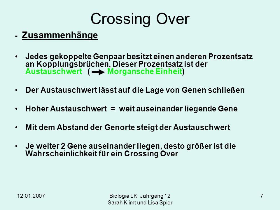 12.01.2007Biologie LK Jahrgang 12 Sarah Klimt und Lisa Spier 7 Crossing Over - Zusammenhänge Jedes gekoppelte Genpaar besitzt einen anderen Prozentsat
