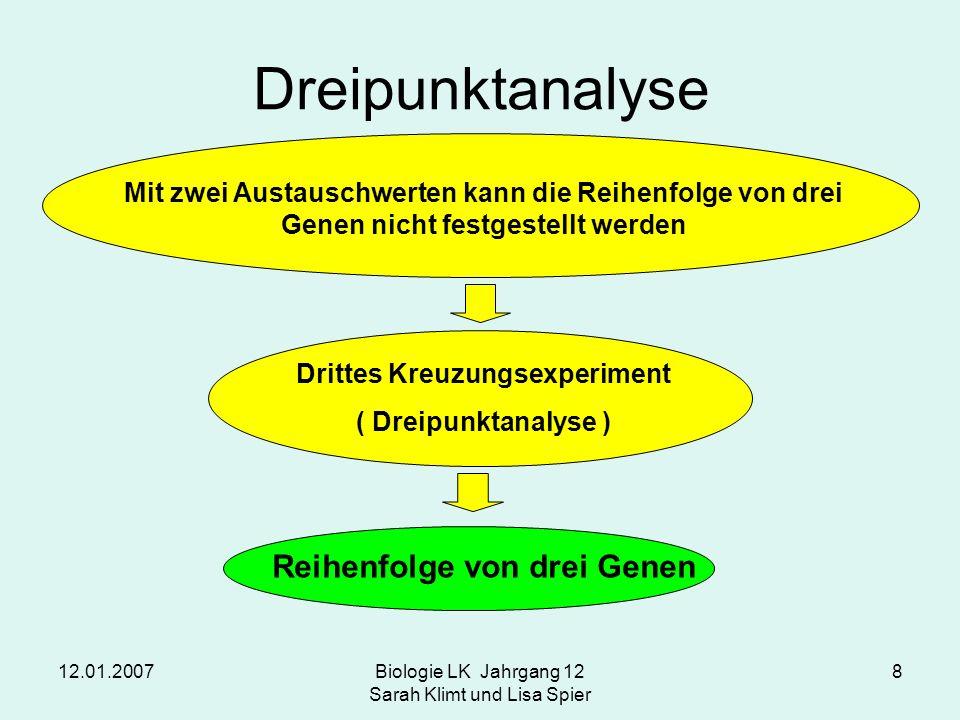 12.01.2007Biologie LK Jahrgang 12 Sarah Klimt und Lisa Spier 8 Dreipunktanalyse Mit zwei Austauschwerten kann die Reihenfolge von drei Genen nicht fes