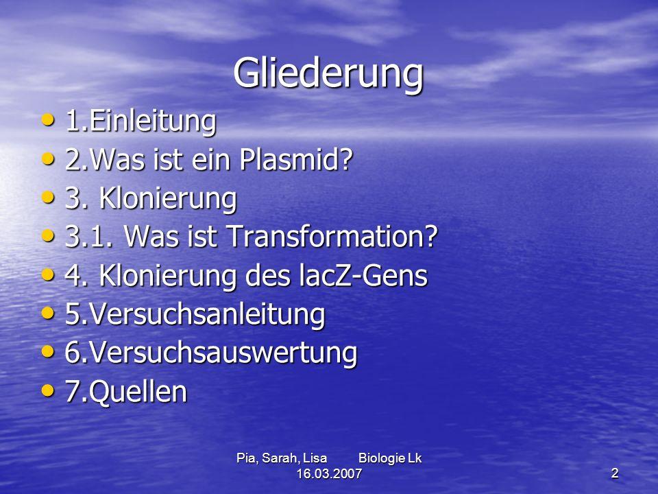 2 Gliederung 1.Einleitung 1.Einleitung 2.Was ist ein Plasmid? 2.Was ist ein Plasmid? 3. Klonierung 3. Klonierung 3.1. Was ist Transformation? 3.1. Was