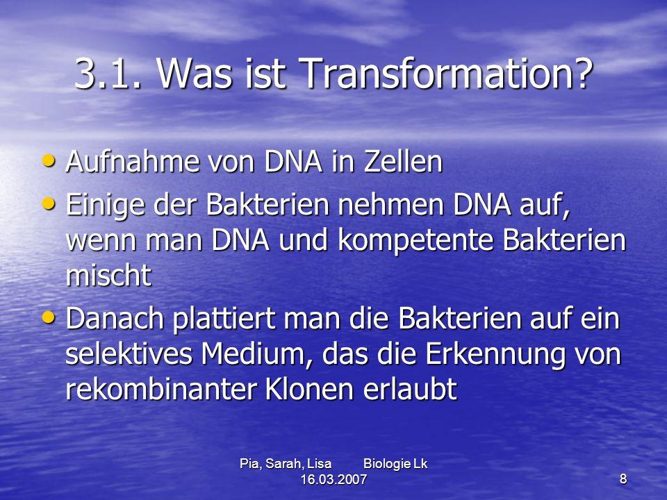 Pia, Sarah, Lisa Biologie Lk 16.03.20078 3.1. Was ist Transformation? Aufnahme von DNA in Zellen Aufnahme von DNA in Zellen Einige der Bakterien nehme