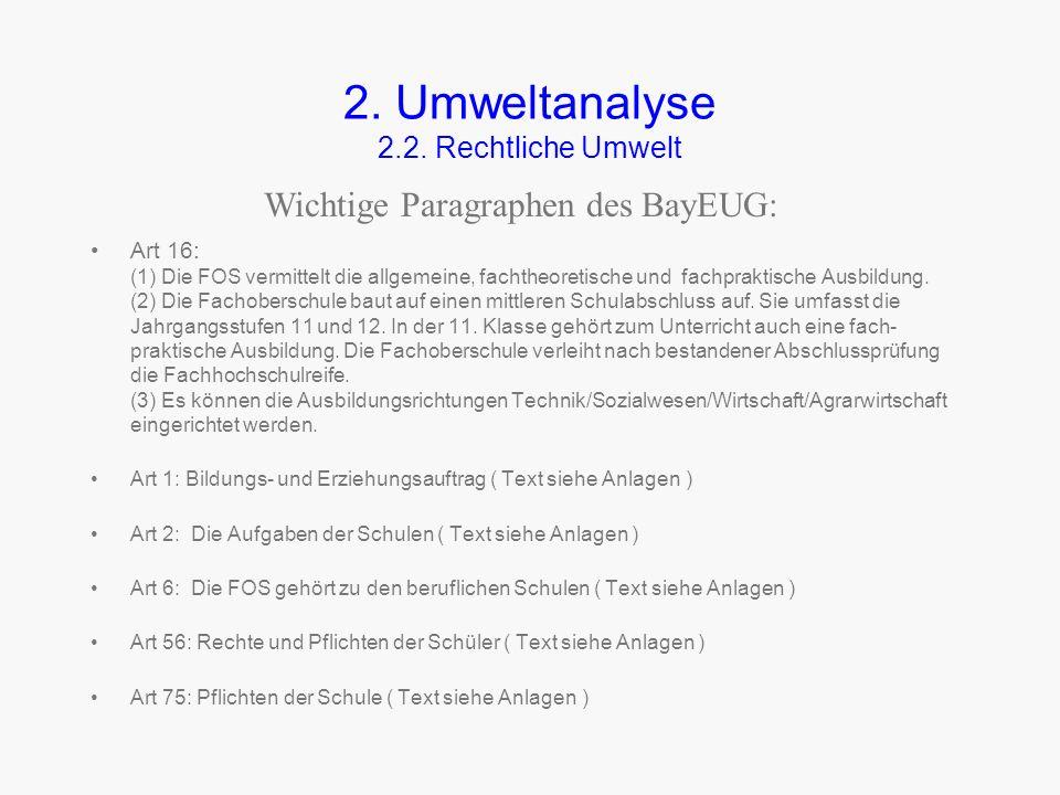 2.Umweltanalyse 2.2. Rechtliche Umwelt Die rechtliche Umwelt wird vom Bayerischen Kultusministerium gestaltet.. Maßgebend für die FOS sind das BayEUG